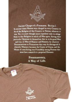 Ancient Charges shirt, chocolate brown with classic style tan lettering.