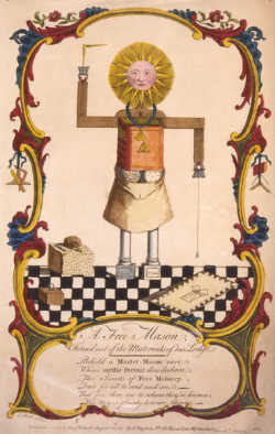 engraving of A Free Mason Form'd Out of the Material of his Lodge by Alexander Slade 1754
