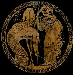 Jason & the Dragon, Athenian red figure kylix C5th B.C.